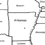 Arkansas - Printable handout with map and flag